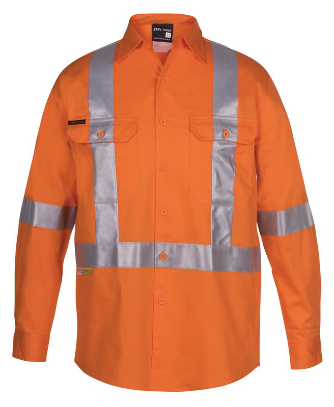 JB Hi Vis Long Sleeve Cross Back Tape Shirt