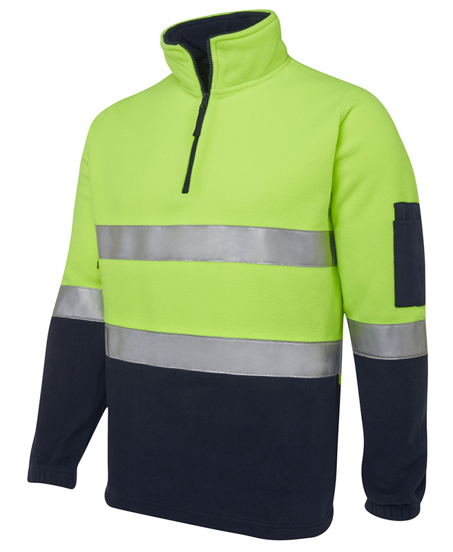 JB Hi Vis Half Zip Polar Reflective Fleece Top