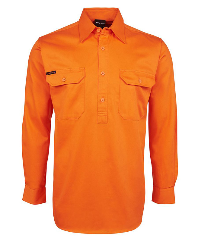 JB Hi Vis 1/2 Button Long Sleeve Shirt