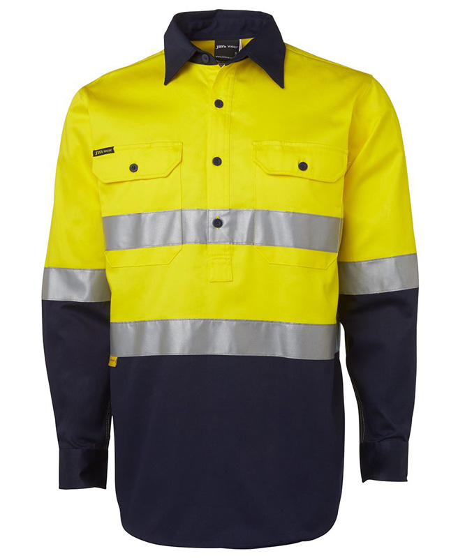 JB Hi Vis 1/2 Button Long Sleeve Shirt 3M Tape