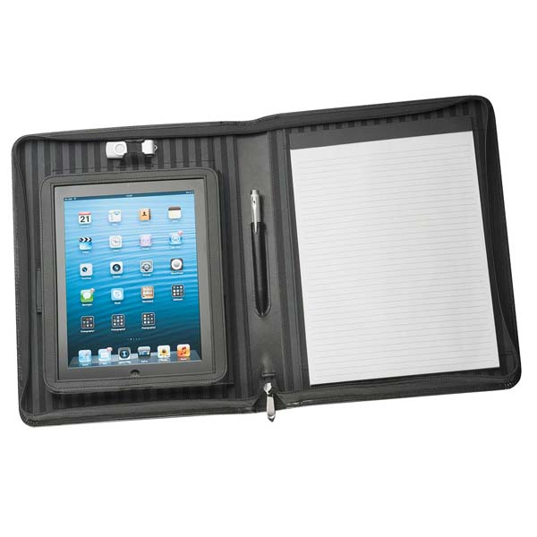 A4 Leather Zippered Compendium with Removable iPad