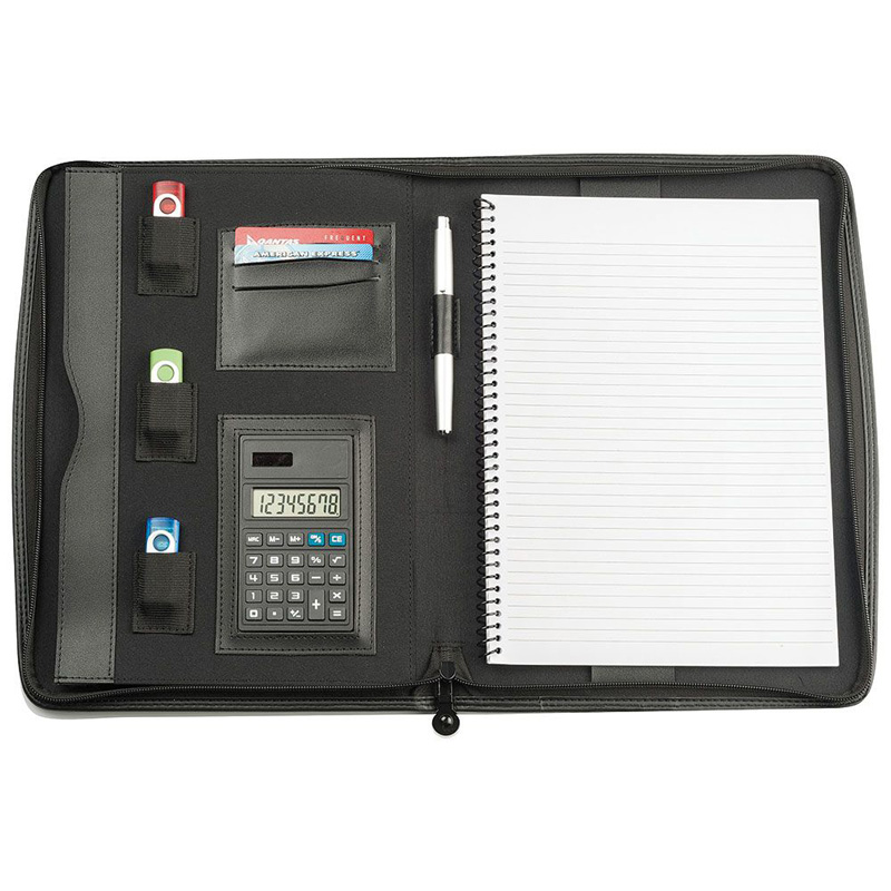 A4 Zippered Compendium With Calculator & Pad
