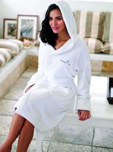 Coral Fleece Bathrobe With Hood