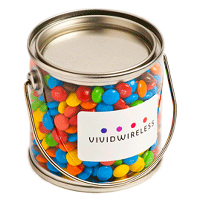 Small Bucket Filled with Mini M&Ms
