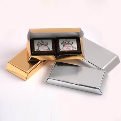 2 Picture Milk Chocolates in Gold or Silver Box