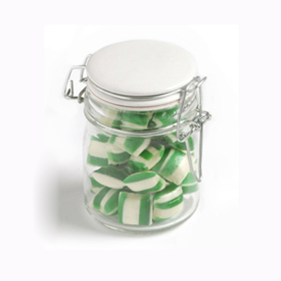 Corporate Coloured Humbugs in Clip Lock Jar 160G