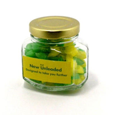 Corporate Coloured Humbugs in Squexagonal Jar 80G