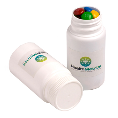 Pill Jar Filled with M&Ms 120G
