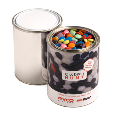 Paint Tin Filled with Choc Beans 1Kg