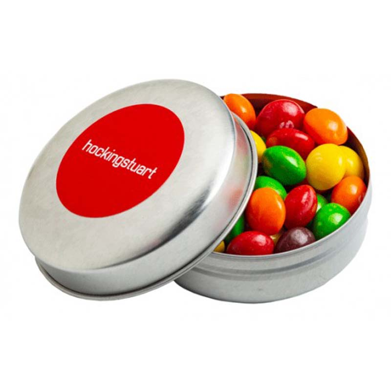 Candle Tin filled with Skittles 50g