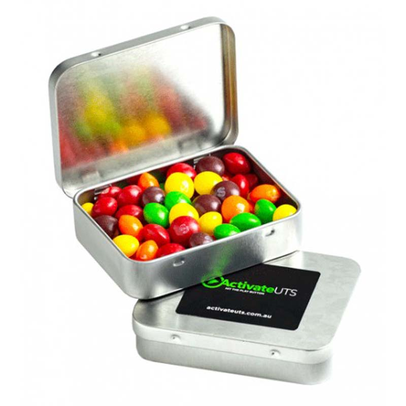 Rectangle Hinge Tin filled with Skittles 65g