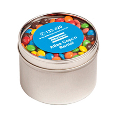 Small Round Acrylic Window Tin Fillled with M&Ms