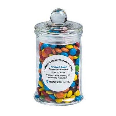 Small Apothecary jar filled with Mini M&Ms