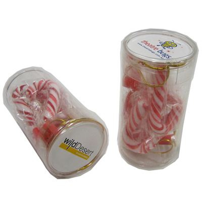 Pet Tube Filled with Candy Canes