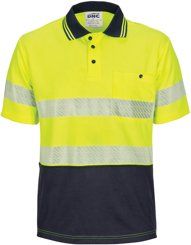 DNC HI VIS Segment Taped Mircomesh Polo - Short Sleeve
