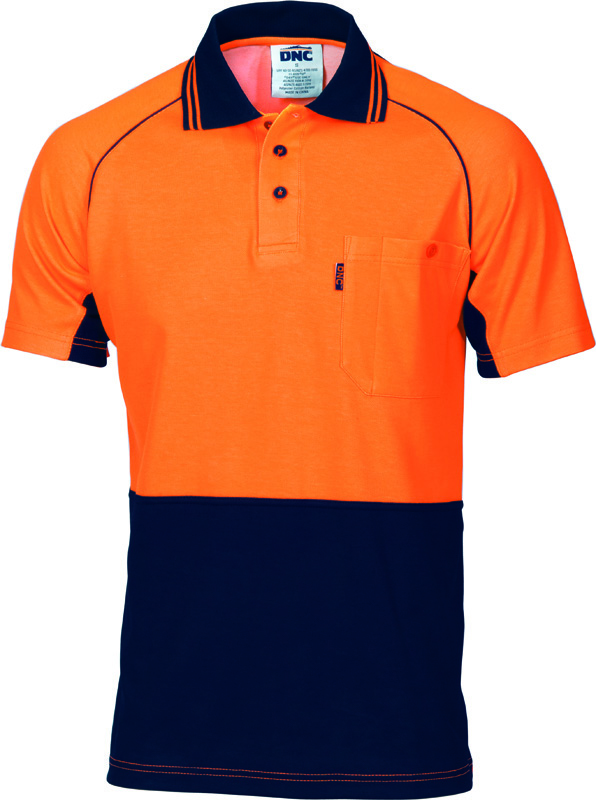 DNC Hi Vis Cotton Backed CoolBreeze Contrast Polo S/S