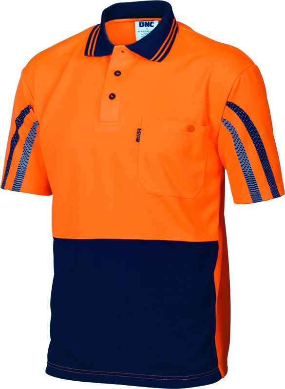 DNC Hi Vis Cool Breathe Printed Stripe Polo S/S