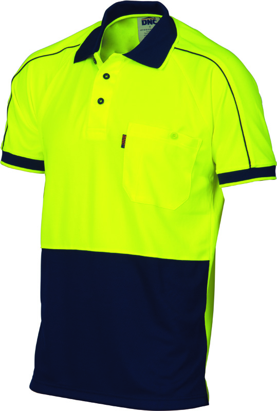 DNC Hi Vis Cool Breathe Double Piping Polo S/S