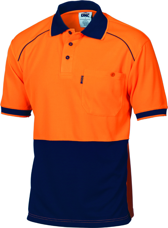 DNC Hi Vis Cool Breathe Front Piping Polo S/S