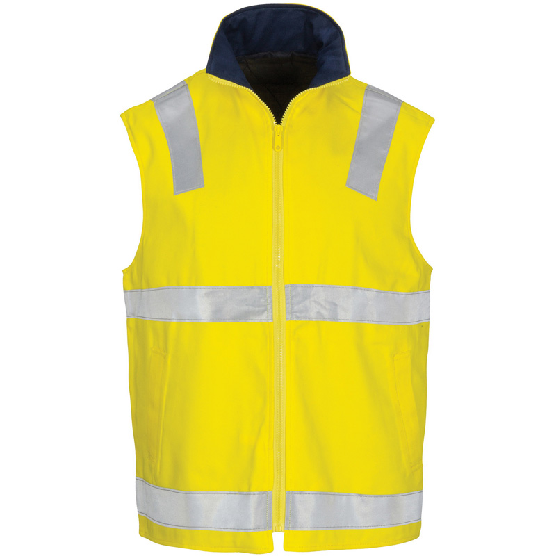 DNC Hi Vis Cotton Drill Reversible Vest with M3 Tape