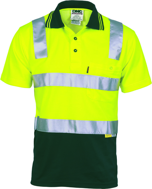 DNC Cotton Back Hi Vis Polo Shirt with 3M R/ Tape S/S
