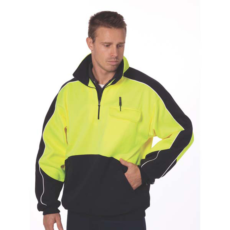 DNC HiVis 2 Tone half Zip Hi-Neck Panel Fleecy