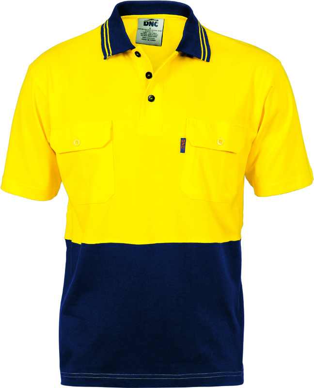 DNC Hi Vis Cool-Breeze 2 Tone Cotton Jersey Polo Shirt