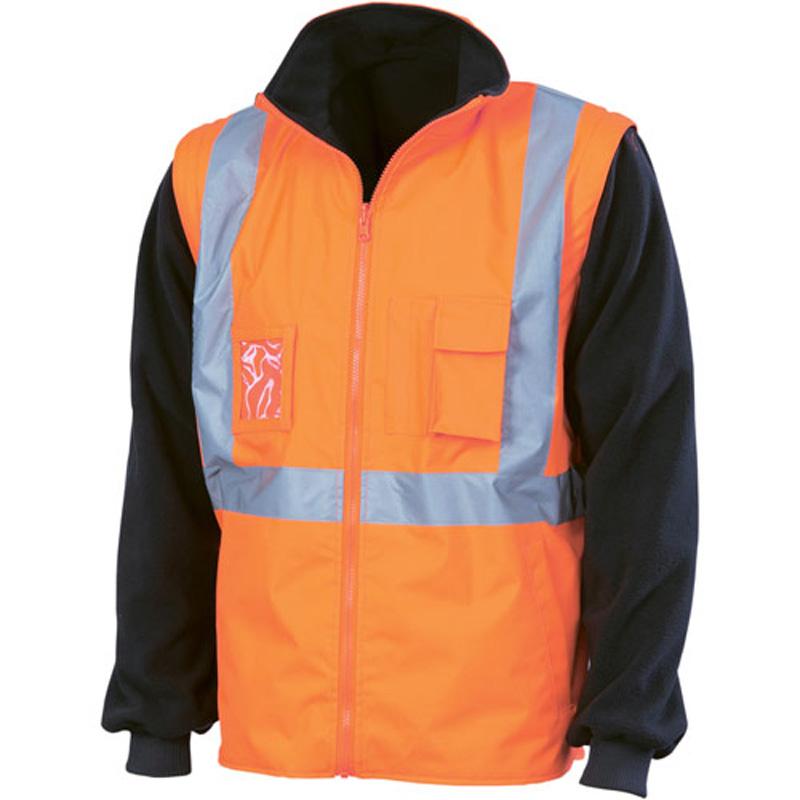 DNC Hi Vis 4 in 1 Zip off Sleeve Reversible Vest