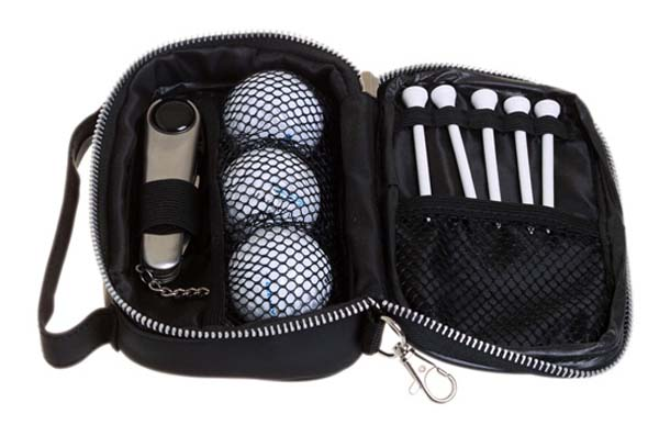 Golf tool, ball and tee set in pouch