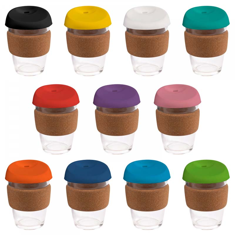 Large Glass Karma Kup Cork Band Silicon Lid 340ml