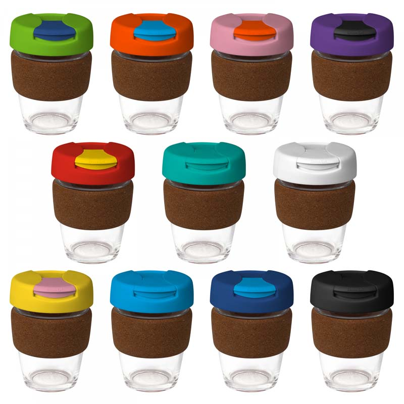 Large Glass Karma Kup Cork Band Plastic Flip Lid 340ml