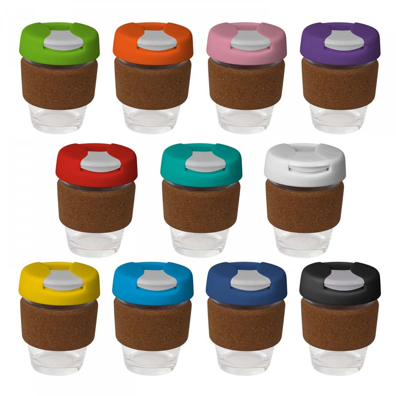 Small Glass Karma Kup Cork Band Plastic Flip Lid 235ml