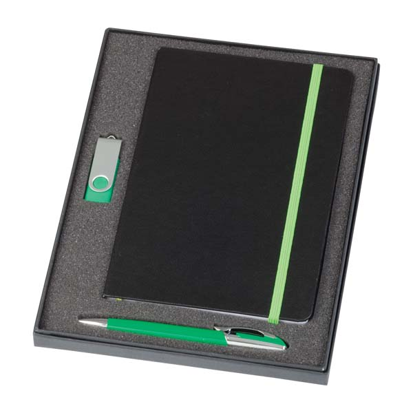 Notebook / 2 GB Swivel USB & Havanna Pen Set