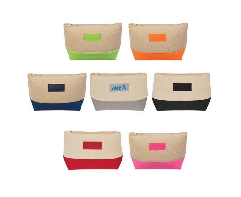 Jute Canvas Cosmetic Bag
