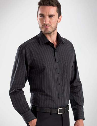 John Kevin Dark Black Stripe Shirt