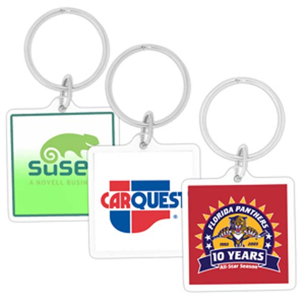 Promotional Square Acrylic Key Chain - Key Rings - Plastic