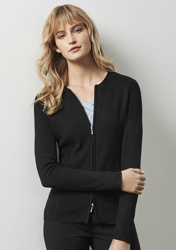 Ladies 2 Way Zippered Cardigan