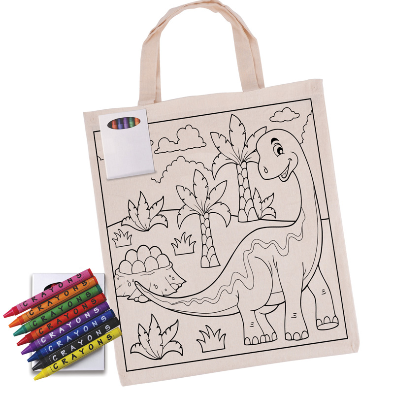 Colouring Short Handle Calico Tote Bag with Crayons
