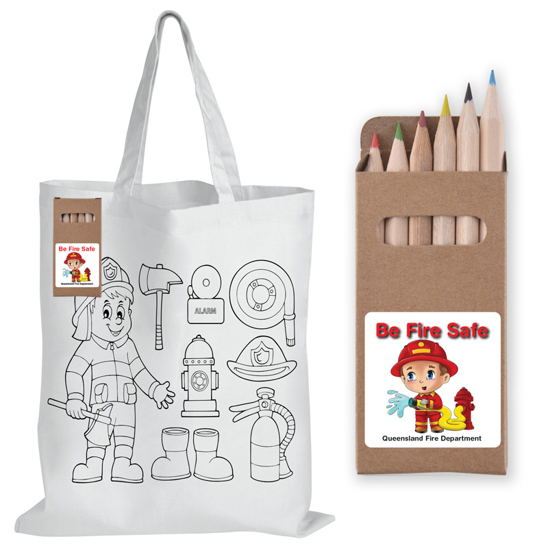 Colouring Short Handle Cotton Bag with Pencils