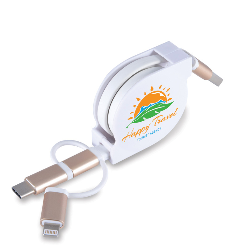 Fury 3 in 1 Retractable USB/8 Pin Connector Cable with Type C
