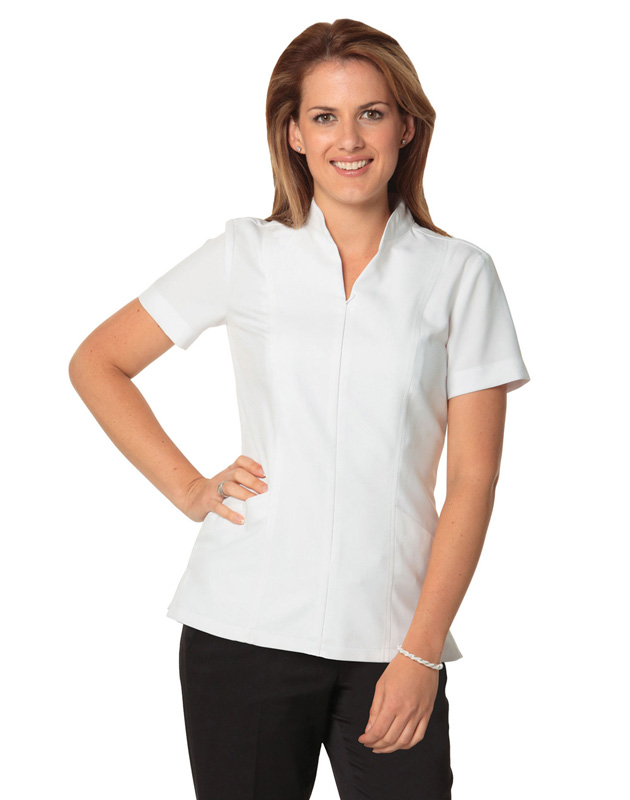 Full Zip Front Short Sleeve Tunic