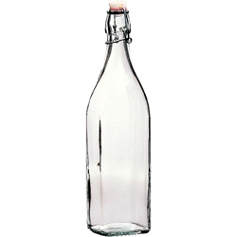 Glass Swing Water Bottle Square 1L