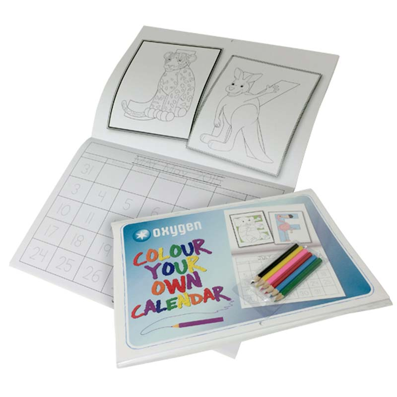 A4 Colouring in Calendar with Pencils