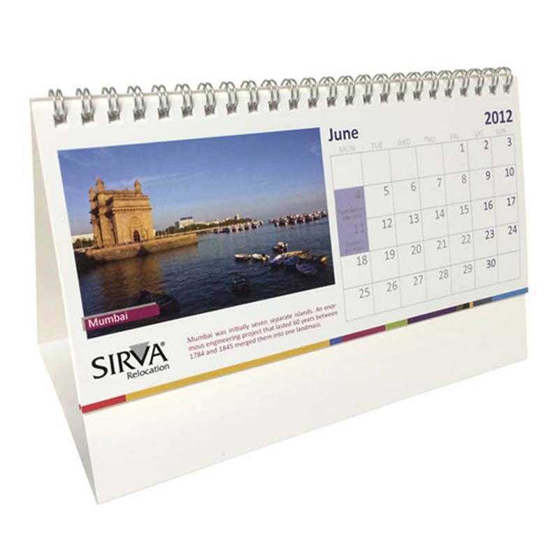 Wiro Bound Tent Calendar with Printed Base