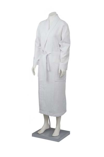 Waffle bath robe with collar