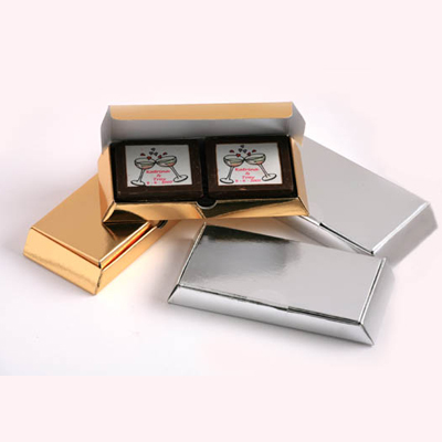 4 Picture Milk Chocolates in Gold or Silver Box