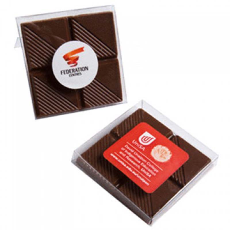 Chocolate Square in PVC Stand Up Box 15g