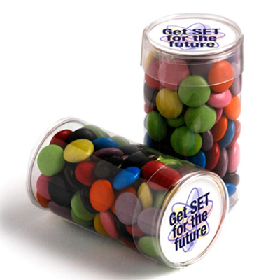 Pet Tube Filled with Choc Beans 100g