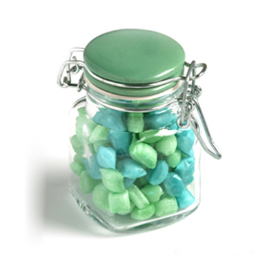 Corporate Coloured Humbugs in Clip Lock Jar 80G
