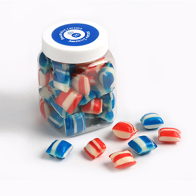 Corporate Coloured Humbugs in Plastic Jar 150G